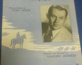 Vintage Sheet Music Riders in the Sky: a cowboy legend