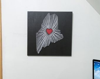 Heart of Maine String Art - Black, White and Red