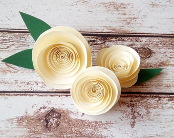 Paper Roses | Paper Rosettes | Wedding Decorations | Off White Flowers | Paper flowers |