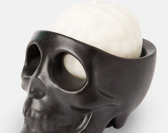 black skull candle holder & white brain scented candle