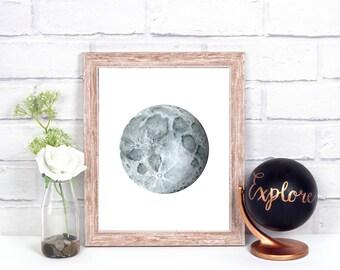 Moon Print, Moon Wall Decor, Moon Wall Art, Full Moon Print, Space Wall Art, Space Print, Watercolor Moon Print, Full Moon Decoration
