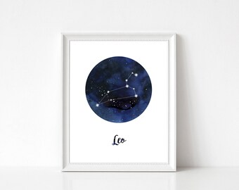 Leo Print, Leo Constellation, Leo Home Decor, Leo Wall Decor, Leo Wall Art, Zodiac Print, Leo Stars, Zodiac Constellation, Constellation