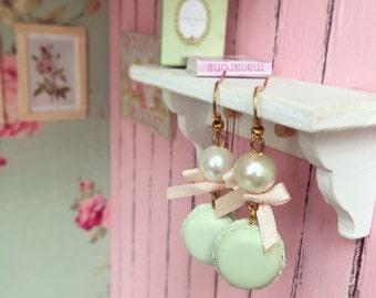 Pastel Macaroons earrings, Cute earrings with Polymer Clay Macarons and bow, Miniature Food