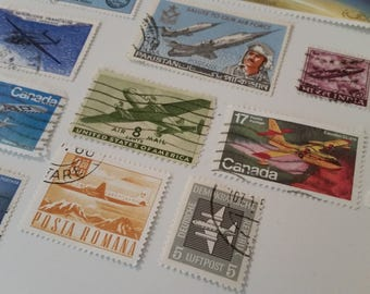 Airplane Postage Stamps / World Postage Stamps / Vintage Used Plane Stamps