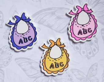 3 piece wooden buttons, buttons for kids. extra buttons for decoration. Baby bib with ABC lettering. Scrapbooking.