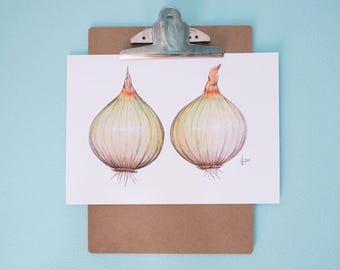 Yellow Onion Art Print, Realistic Art