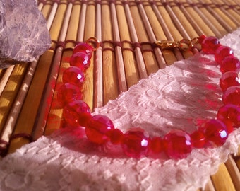 Bracelet female, red faceted crystals, female, current, casual, fashion, chic, exclusive