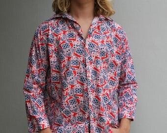 70s red patterned vintage shirt