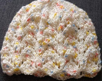 Hand Knitted Lacy Baby Hat