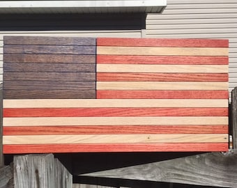 Wooden US American Flag Wall Art