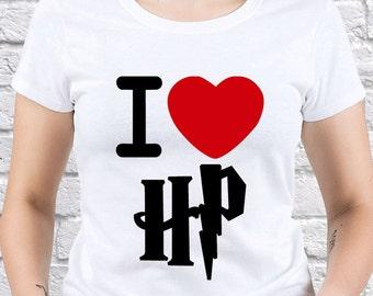 Harry Potter I Love/ womens T-shirt/ Girl shirt / Harry Potter Love/ I Love Harry Potter/ Quidditch Game/ Gift for/ Harry Potter gift/(HP05)