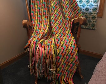 Bright multicolor rainbow crochet afghan. Made to order.