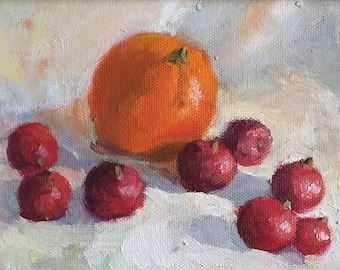 "Original oil painting, entitled ""Orange and cranberry"""