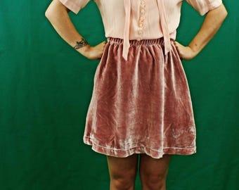 Hand dyed Pink Silk Velvet Skirt