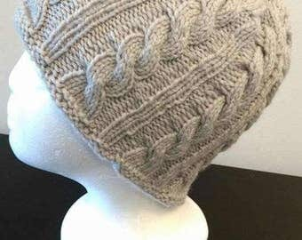 Light Gray Cable Hat
