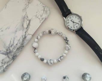 Marble Stone Bracelet, Howlite Stone Bracelet, Anti Stress Bracelet, Yoga Bracelet, Classy Bracelet
