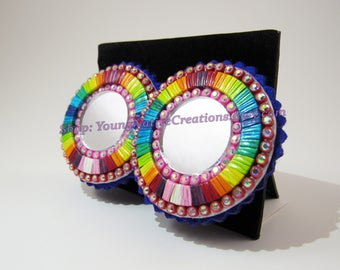 Rainbow Single Round Quilled Earrings