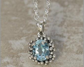 Sterling Silver Blue Topaz Pendant