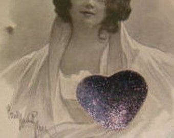Vintage Pretty Lady Postcard (Silver Heart)
