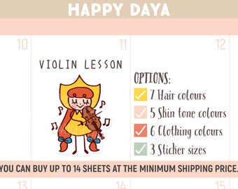 Cute Practice violin stickers, Violin lesson stickers, Cute Violin planner sticker, Music lesson Sticker, Kawaii girl sticker (MD008)