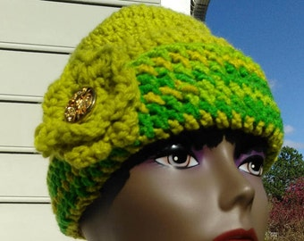 Multi-Green nd Yellow Crotched Hat with Flower and Medallion