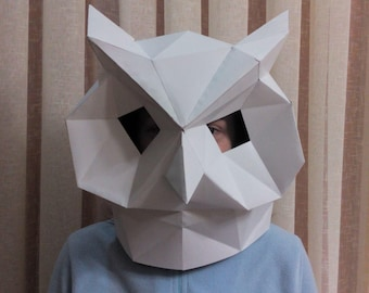 Papercraft Owl Mask - Make Your Own Owl Mask from PDF template.