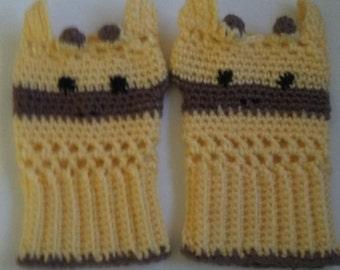 Giraffe Crocheted Fingerless Gloves - Adult