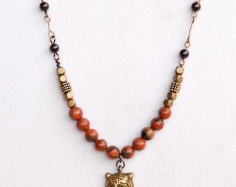 Tiger Charm Necklace, Garnet Bead Chain
