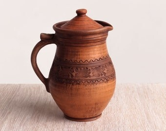 Rustic wine jug, ceramic pitcher, juice ceramic jug, large pitcher, milk pitcher, pottery stoneware, clay pitcher, eco friendly pitcher