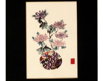 Vase With Mum Flowers, paper, sumi-e, small, quiet, detailed