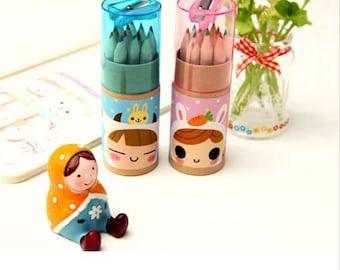 12 Cute Colored Pencils and Sharpener Set ~ Novelty Pencils, School Supplies, DIY, Planner Accessories, Pencils, Writing Tool, Cute Pencils