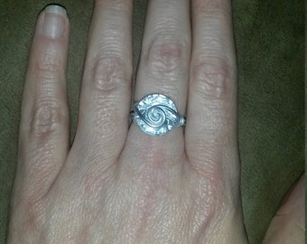 wire wrapped button ring
