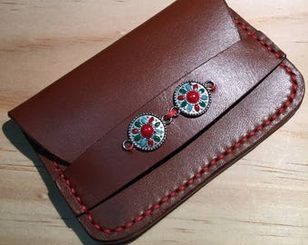 Boho card holder, small wallet, credit card case, handstiching, red brown leather, woman wallet, id holder, by dormack
