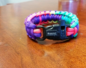 Rainbow #resist LGBTQ Paracord Bracelet with Emergency Whistle to Support The Trevor Project