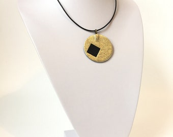 Gold Leather Necklace Pendant
