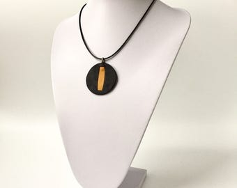 Leather Necklace Pendant Black and Yellow Unique
