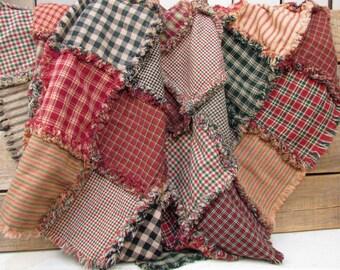 Rustic Christmas Rag Homespun Quilt Kit