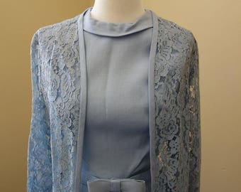 Vintage 1960s baby blue sheath dress with lace duster and bow belt
