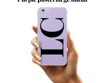 Large initial case in a black and lavender combination. A phone case for iPhone and Samsung Galaxy devices.