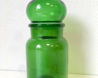 Glass jar, green jar, vintage jar, coffee jar, kitchen jar, retro jar