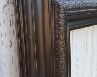 Vintage black picture frame, vintage picture frame, antique style frame, ornate picture frame, custom picture frame,shabby, distressed black