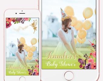 Snapchat Geofilter Baby Shower, Fairy Garden Party Decoration, Fairy Garden Baby Shower, Snapchat Filter Shower, Birthday Snapchat Geofilter