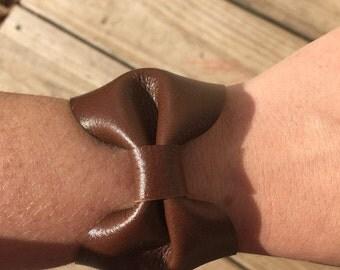 Bow Leather Cuff Bracelet