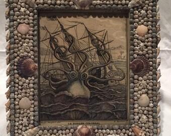 Handmade Shell Frame with Octopus (Kraken) Print
