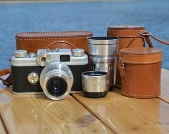 Vintage Argus C-44 Rangefinder Camera w/ 3 lenses and vintage leather case