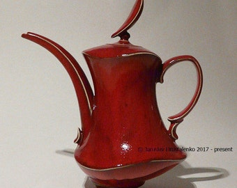 Red Dancer COFFEE POT / TEAPOT Designer Made functional tableware stoneware pottery