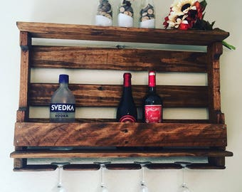Smal Stained Rustic Distressed Pallet Wine Rack, Reclaimed Wood, Pallet Furniture