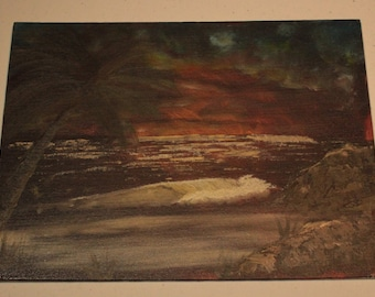 "Handmade Stormy Night Beach Scene, Oil on 9"" x 12"" Canvas Board"