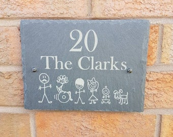 Slate house plaque, personalised, stick men, house sign, family name, gift