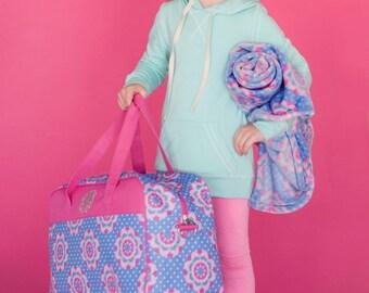 Monogrammed Girls Duffle Bag, Monogrammed Girls Overnight Bag,Girls Flower Luggage, Monogrammed Girls Blanket,Purple and Pink  Luggage Set